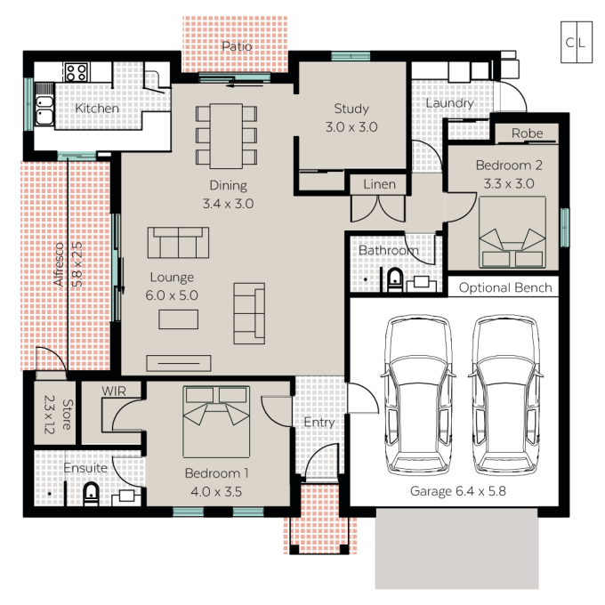 Sorrento floor plan - click to expand